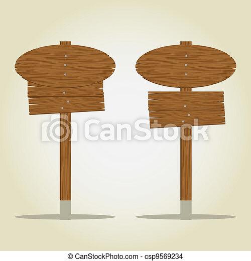 circular and rectangular wooden signage - csp9569234