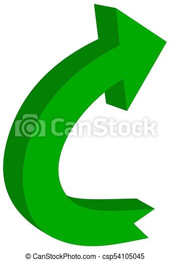 circular arrow in 3d green color - 3D Illustration - csp54105045