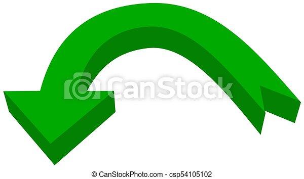 circular arrow in 3d green color - 3D Illustration - csp54105102