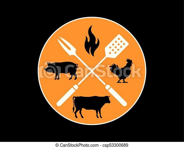 Circular Barbecue or Grilling emblem. - csp53300689
