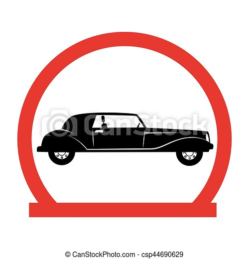 circular emblem with classic car vector illustration vector rh canstockphoto com vintage car vector png vintage car vector art