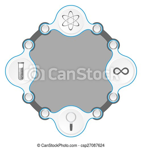 Circular frame for your text and science symbols.