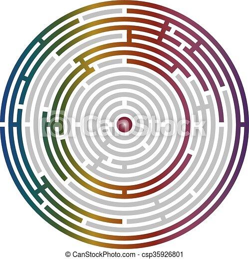 Circular labyrinth abstract, logic puzzle - csp35926801