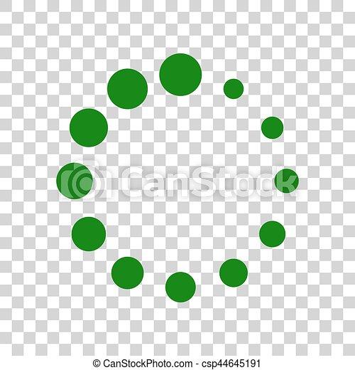 Circular loading sign. Dark green icon on transparent background. - csp44645191