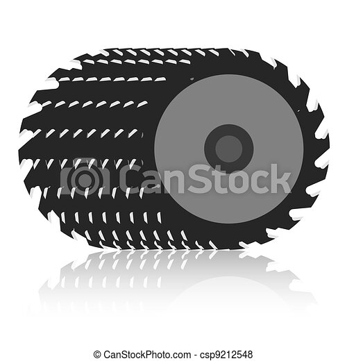 Circular saw blade on a white background.  - csp9212548