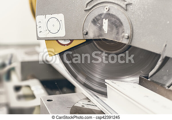 Circular Saw Cutting PVC Profile Close Up  Plastic Window and Door Industry  Production