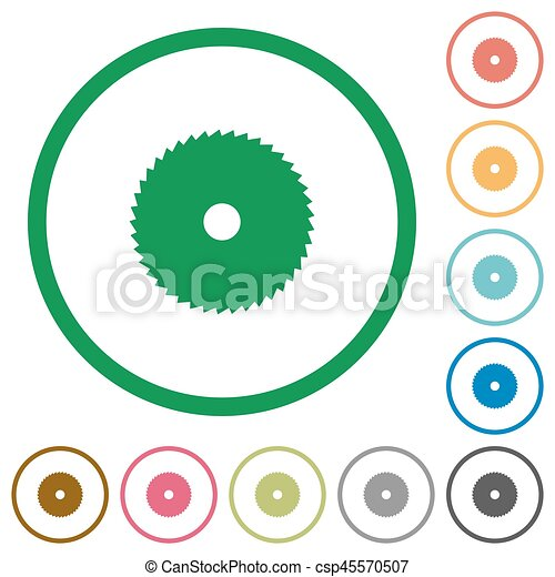 Circular saw flat icons with outlines - csp45570507