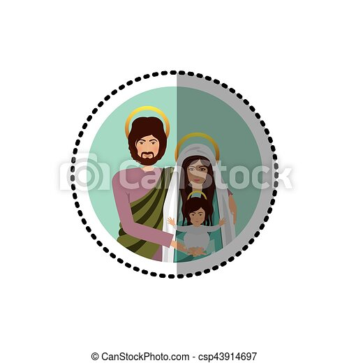 circular sticker with half body picture of sacred family - csp43914697