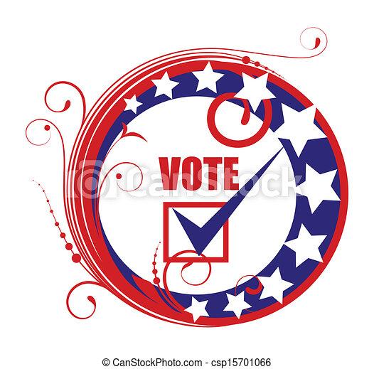 circular vote banner badge frame election day vector illustration
