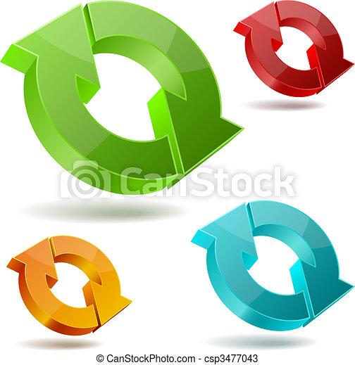 Circulating 3D arrows - csp3477043