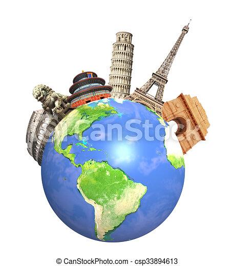 monumentos famosos del mundo que rodea al planeta Tierra - csp33894613