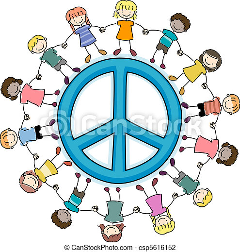 Los chicos rodean una señal de paz - csp5616152
