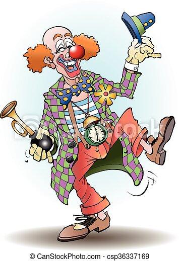 Circus Begroet Clown Circus Clown Spotprent Vector Begroet