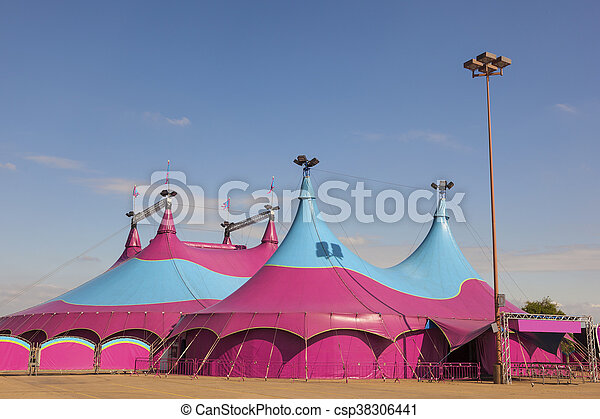 Circus Big Top - csp38306441 & Circus big top. Colorful circus big top tent against a blue ...