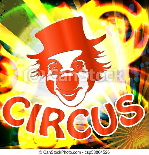 circus billboard with clown face - csp53804526