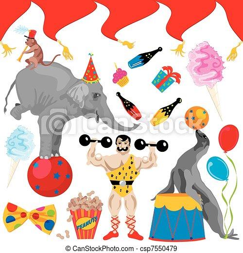 Circus Birthday Party Clip art elem - csp7550479