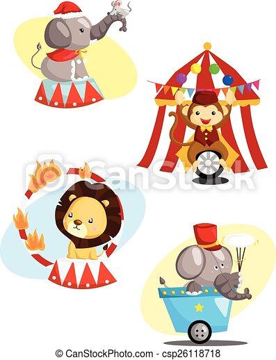 Circus Carnival Animal Vector Set - csp26118718
