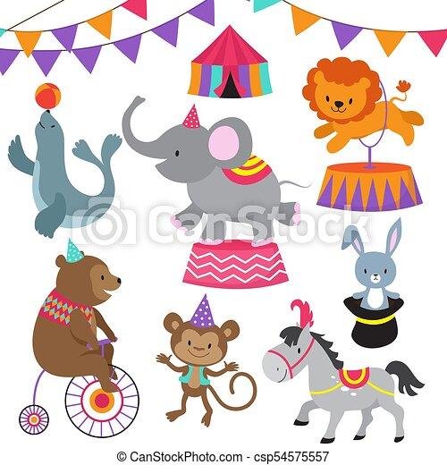 Circus child show cartoon animals vector set