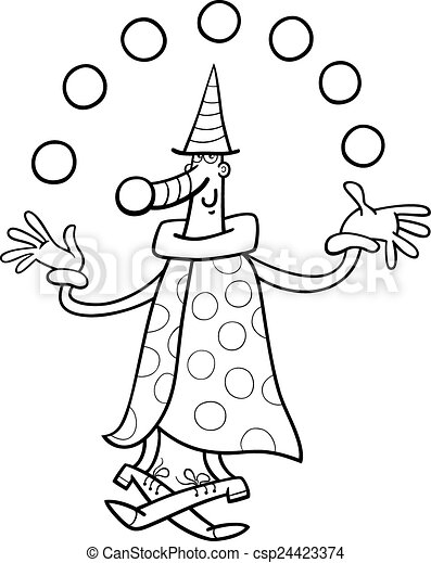 Circus clown juggler coloring page. Black and white cartoon ...