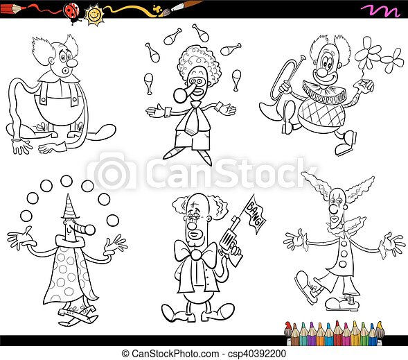 Circus clowns set coloring book. Black and white cartoon ...