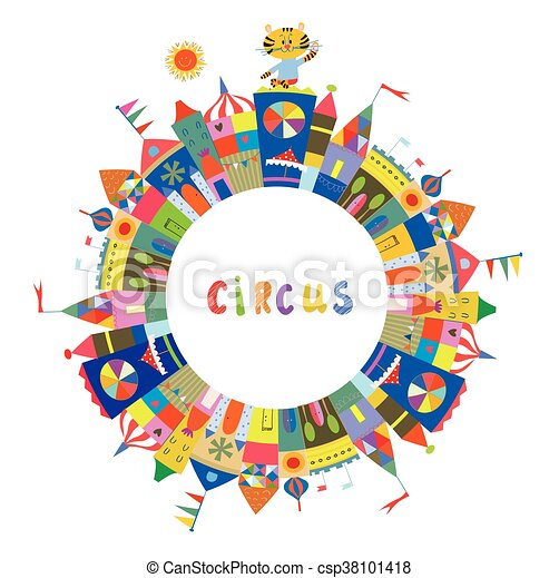 Circus frame for the card or banner, funny design, vector illustration.