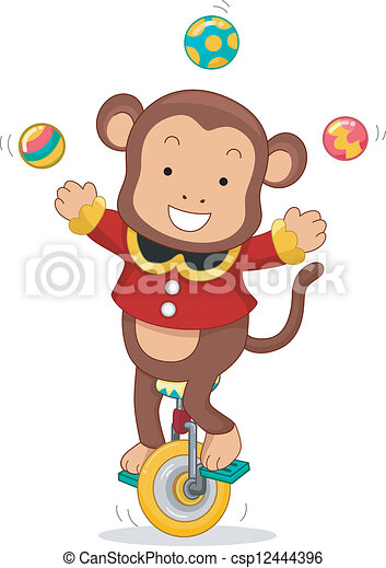Circus Monkey Juggling on Monocycle - csp12444396