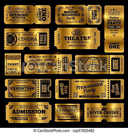 Circus, party and cinema vector vintage admission tickets templates. Golden tickets isolated on black background - csp57655482
