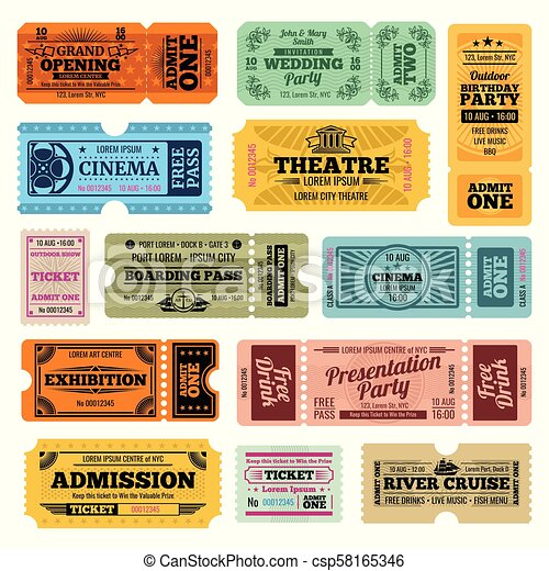 Circus, party and cinema vector vintage admission tickets templates - csp58165346