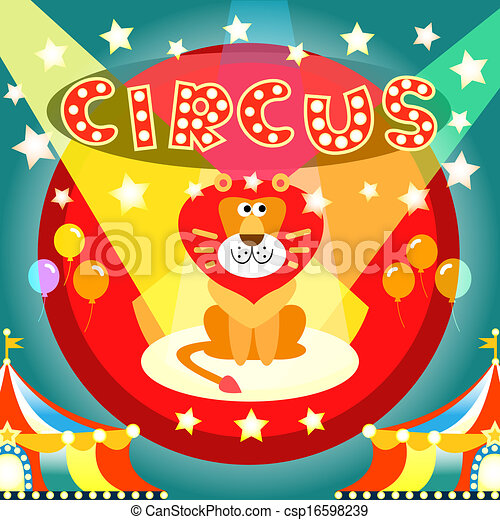 Circus Poster Lion On The Arena Vector Illustration
