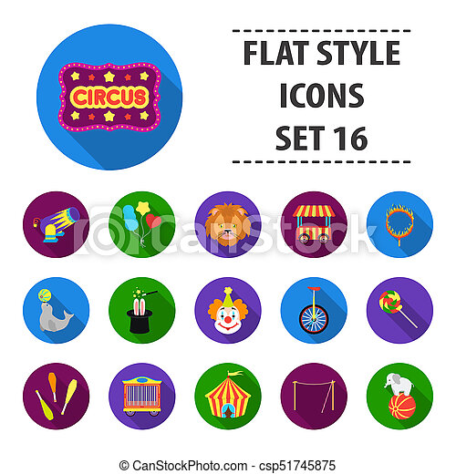 Circus set icons in flat style. Big collection circus bitmap,raster symbol stock illustration - csp51745875