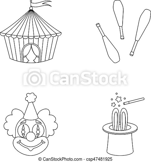 Circus Tent Juggler Maces Clown Magicianu0027s Hat.circus Set Collection Icons In Outline Style  sc 1 st  Can Stock Photo & Circus tent juggler maces clown magicianu0027s hat.circus set ...