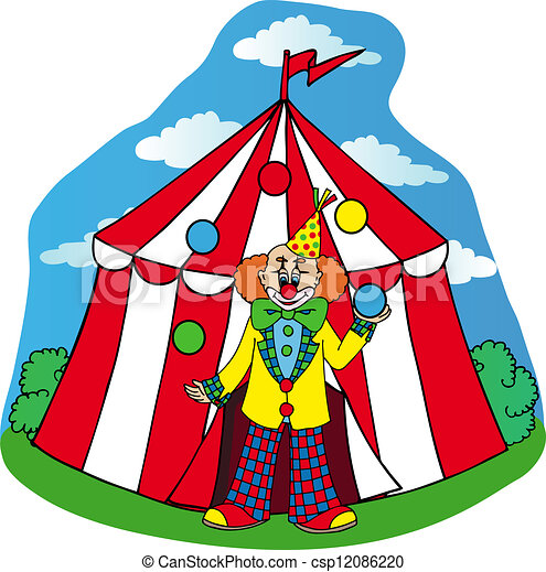 Circus Tent With Clown Vector  sc 1 st  Can Stock Photo & Circus tent with clown - vector illustration. vector illustration ...