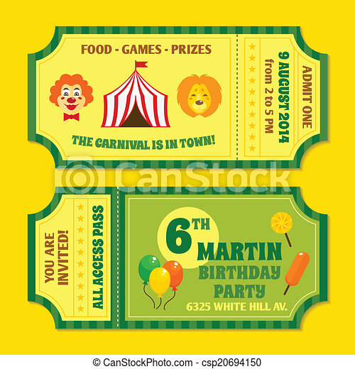 circus tickets template two vintage circus carnival birthday party
