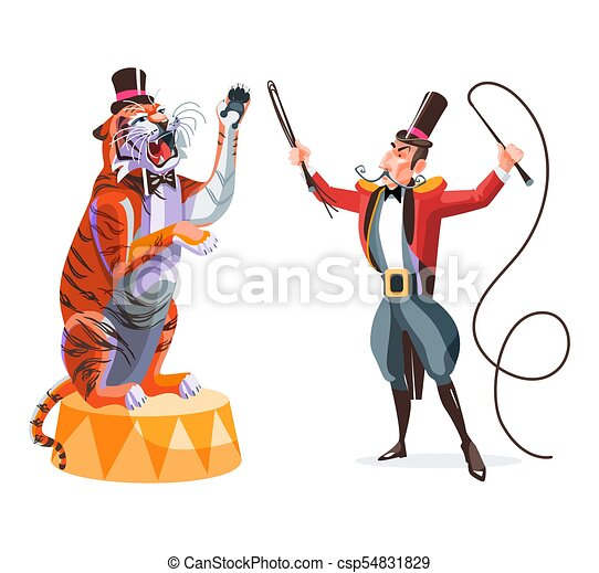 Circus Trainer And Tiger On A Pedestal Circus Animals Tamer