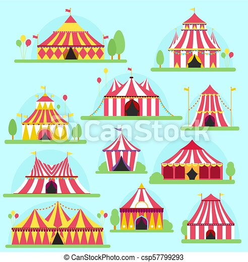 Circus vector tent facade marquee marquee stripes flags carnival entertainment balloons lelements flat illustration. circus red tents entertainment. ...  sc 1 st  Can Stock Photo & Circus vector tent facade marquee marquee stripes flags carnival ...