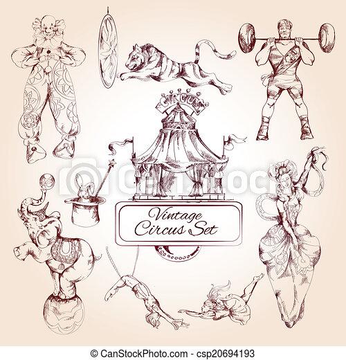 Circus vintage icons set - csp20694193