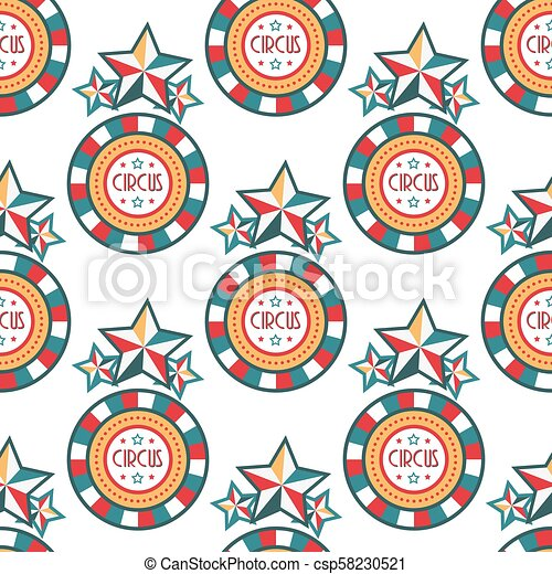 Circus vintage signboard labels seamless pattern background vector illustration entertaining ticket sign - csp58230521