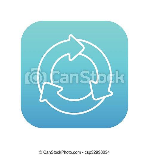cirkel, pijl, lijn, icon. - csp32938034