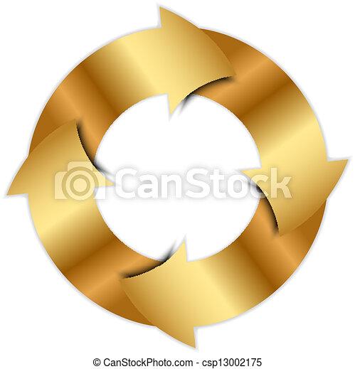 cirkel, vector, pijl, goud - csp13002175