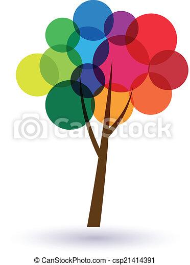 cirkels, concept, image., life.vector, boompje, veelkleurig, goed, geluk, pictogram - csp21414391