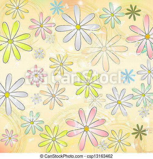 cirkels, oud, ouderwetse , op, veelkleurig, papier, beige achtergrond, madeliefje, bloemen - csp13163462