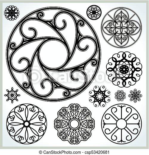 cirklarna, vektor, kollektion, utsirad - csp53420681