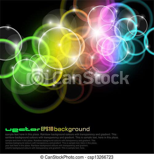 cirkler, regnbue farve, glød - csp13266723