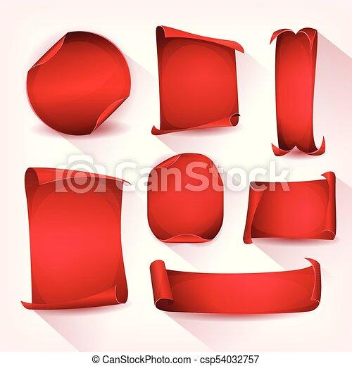 cirkus, sätta, pergament, röd, rulla - csp54032757