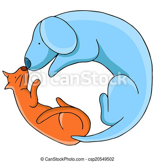 cirlce, cane, gatto - csp20549502