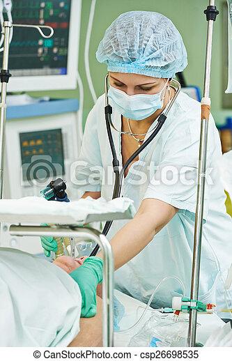 Cirugía, anestesista, operación, trabajando. Anestesiólogo, paciente ...