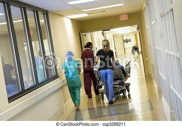cirurgia, paciente, sala, emergência, apressar-se - csp3288211