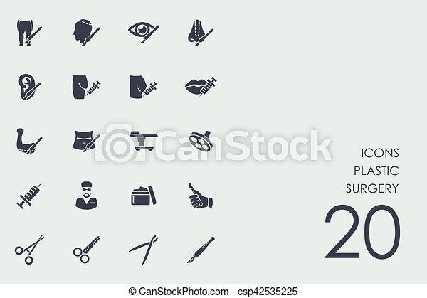 cirurgia plástica, jogo, ícones - csp42535225