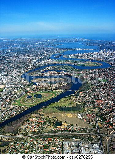 Vista aérea del río Swan - csp0276235