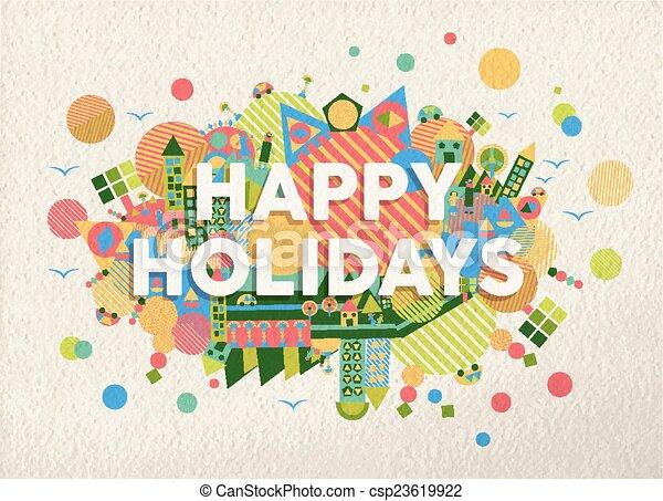 Felices fiestas y ilustraciones - csp23619922